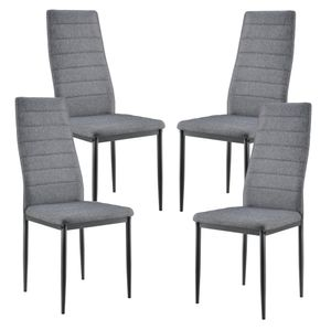 [en.casa] 4er Design Stuhl-Set Grau Italienisch Lehnstuhl Hochlehner Esszimmerstuhl Polsterstuhl