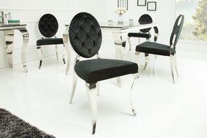 Stylischer Stuhl MODERN BAROCK schwarzer Samt mit Knöpfen Edelstahl Esszimmerstuhl