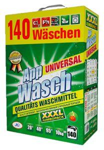 AppWasch® Universal Vollwaschmittel Pulver- 10 Kg., 1er Pack XXXL (1 x 140 Waschladungen)