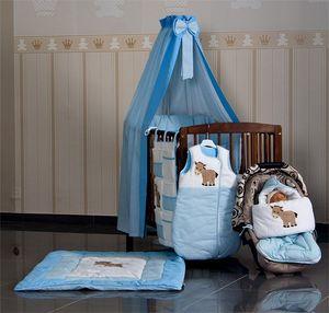 11-tlg.Set:Babybett NATURA KLASSIK Nuss mit Bettkasten(120 x 60)und Set Prestij in blau