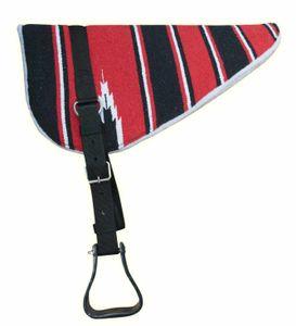 AMKA Bareback Pad Navajo Design mit Riemen, Steigbügel und Sattelgurt, Farbe:Rot