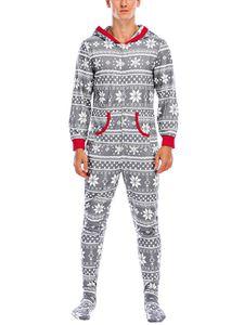 Familien Matching Hoodie Onesies Weihnachten Family Matching Pyjamas Jumpsuit,Farbe: Grau Papa,Größe:L