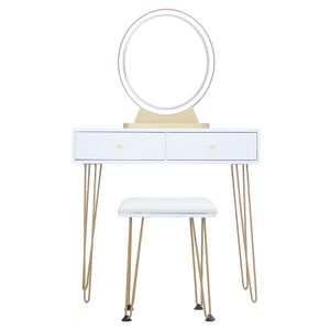 MIPAN LED Schminktisch mit Hocker & Spiegel 2 Schubladen modern gold 80*40*135cm