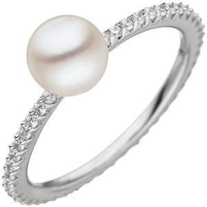 Damen Ring 925 Silber 1 Süßwasser Perle weiß mit Zirkonia rundum Perlenring