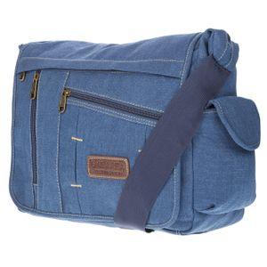 Christian Wippermann große XL Herren Damen Tasche Umhängetasche Canvas Messenger Ba Blau