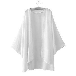 Sommer Frauen Chiffon einfarbig offene Vorderseite Kimono Bikini vertuschen Strickjacke Mantel weiss S.