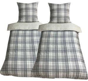 Bettwäsche 135x200 + 80x80 cm Baumwoll-Satin Kariert schwarz weiß beige mit Reißverschluss, 4-tlg