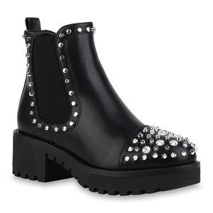 Mytrendshoe Damen Plateau Boots Leicht Gefütterte Stiefeletten Nieten Booties 831990, Farbe: Schwarz, Größe: 38