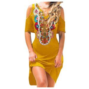 Frauen Lady Casual Kurzarm V-Ausschnitt Tau Schulter Blumen Print A-Line Kleider Größe:S,Farbe:Gelb