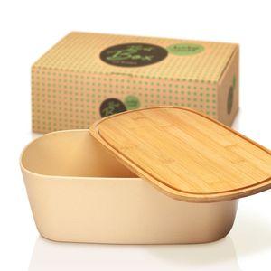 bambuswald© Brotbox mit integriertem Schneidebrett 38x21,5x12 cm - Brotdose / Brotkasten für Croissants, Brot o. Brötchen | Brotbehälter mit Küchenbrett / Brotbrett Natur