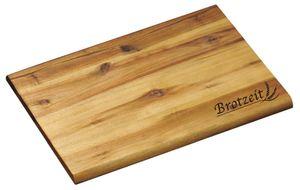 """6 Stück Kesper Brotzeitbrett mit Einbrand """"Brotzeit"""", rechteckig, 30 x 20 x 1 cm, es Akazienholz, Schneidebrett, Präsentationsplatte"""