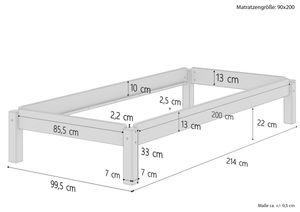 Stapelbett Massivholzbett Kiefer Natur 90x200cm Einzelbett stapelbar Gästebett + Rollrost 60.48-09