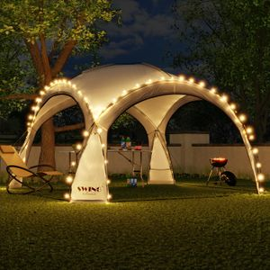 LED Event Pavillon 3,6 x 3,6m DomeShelter Garten Pavillion inkl. Solarmodul Pavilion Designer Gartenzelt Camping Pavilon Partyzelt mit Beleuchtung - anthrazit