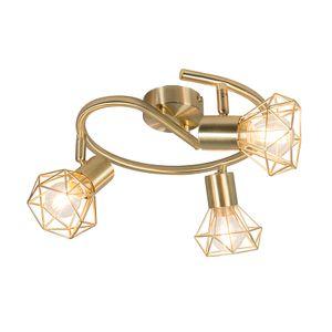 QAZQA - Modern Art Deco Spot | Spotlight | Deckenspot | Deckenstrahler | Strahler | Lampe | Leuchte Messing dreh- und neigbar - Mosh 3-flammig Spotbalken | Wohnzimmer | Schlafzimmer | Küche - Stahl Rund - LED geeignet E14