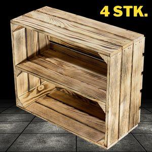 4 Holzkisten geflammt mit Regalbrett / NEU / 50x40x22cm / kleines, dekoratives Schuhregal