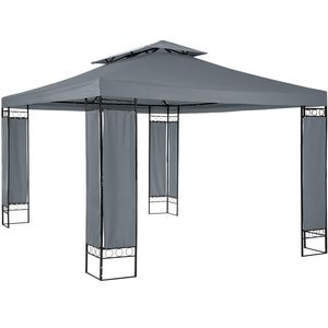 tectake Luxus Gartenpavillon Leyla 390 x 290cm - anthrazit