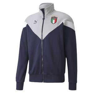 Puma FIGC Italien Iconic MCS Track Jacke EM 2020 Herren Erwachsene dunkelblau / grau L