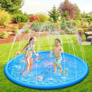 170cm Garten Wassermatte Wassersprinkler Wasserspielzeug für Kinder Baby und Hund im Sommer (Delphin)