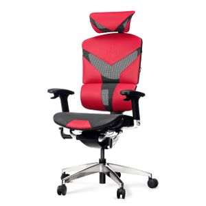 Diablo V-Dynamic Ergonomischer Schreibtischstuhl Bürostuhl Chefsessel verstellbare Armlehnen Netzstoff Kunstleder Neigungsmechanismus Farbwahl (Karmesinrot)