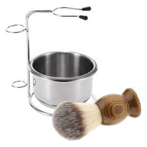 Holz Männer Rasierpinsel + Metallschale Tasse Becher + Standhalter Set