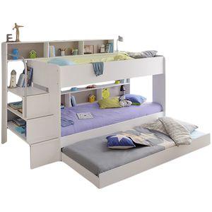 Etagenbett Bibop weiß 90*200 inkl Bettkasten + 2 Lattenrostplatten + Regale + Leiterpodest Kinderzimmer Spiel Hoch Doppel Stockbett
