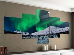 Acrylglasbilder 5 Teilig 200x100cm Polarlicht Nordlicht Bergen Schnee Druck Acrylbild Acryl Acrylglas Bilder Bild 14F344