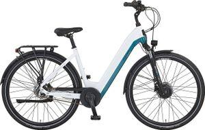 PROPHETE City E-Bike   Vollintegrierter 36 V AEG Motor   13 Ah/468 Wh Li-Ion-Akku   7 Gang Shimano Nabenschaltung   Frontmotor   Reichweite ca. 120 Km   weiß-petrol   LED Scheinwerfer und -Rücklicht