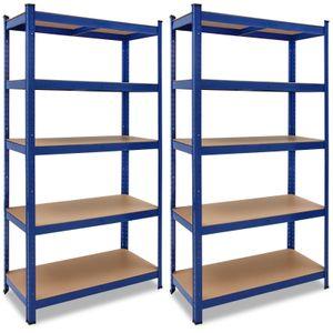 2x Monzana Schwerlastregal 180x90x40cm 875kg blau 5 MDF-Platten Lagerregal Kellerregal Steckregal Werkstattregal