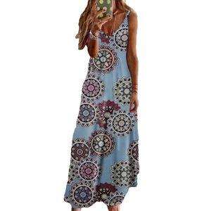 Frauen V-Ausschnitt verstellbare Träger Chrysantheme langes Kleid—Hellblau,Asiatische Größe:3XL