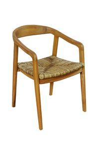SIT Möbel Armlehnstuhl | Teak-Holz | mit Rattan Sitz | natur | B 55 x T 58 x H 75 cm | 02464-01 | Serie SIT&CHAIRS