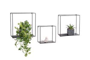 LIFA LIVING 3er Set Wandregal im Industrie Design, Schweberegal aus schwarzem Metall, Elegantes Deko Regal Quadrat für Bücher und Küche, Belastbarkeit 3 kg