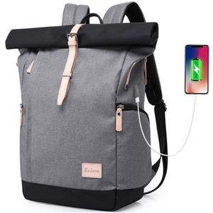 Wasserdicht Laptop Rucksack Tasche Daypack Diebstahlsicherung Tagesrucksack Daypack Mode Rucksack Roll Top Rucksack mit USB fur 15.6 Zoll Notebook Damen Herren (Grey)