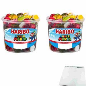 Haribo Super Mario Fruchtgummi 2er Pack (2x570g Runddose) + usy Block