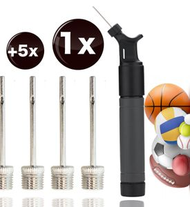 Ballpumpe inkl. 5X Ballnadeln / Nadelventile zum Aufpumpen von Bällen wie Fußball, Volleyball, Basketball - Luftpumpe schwarz