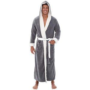 Herren Winter Plüsch verlängerten Schal Bademantel Home Kleidung Langarm Robe Mantel Größe:XL,Farbe:Grau