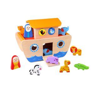 Tooky Toy Arche Noah aus Holz mit bunten Tieren und Bauklötzen - 18-teiliges Holz-Spielzeug für kreative Rollenspiele und förder das Greif- sowie Denkvermögen Ihres Kindes- ca. 26 x 19 x 14 cm