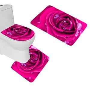 ECZJNT Flower Rose Wassertropfen 3-teilige Badteppiche Set Badteppich Konturmatte Toilettendeckel Abdeckung