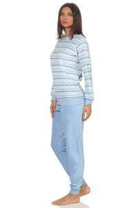 Eleganter Damen Frottee Pyjama langarm mit Bündchen in Streifenoptik - 291 201 13 568, Farbe:hellblau, Größe:40/42