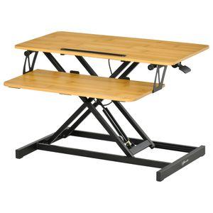 Vinsetto Sitz-Steh-Schreibtisch Steharbeitsplatz   Stehpult Monitorständer Höhenverstellbar Stahl MDF Natur 80 x 40 x 13,5-51 cm