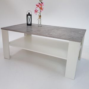 Möbel SD Couchtisch Bea Betonoptik -Weiß 100 x 57 x 43,5 cm