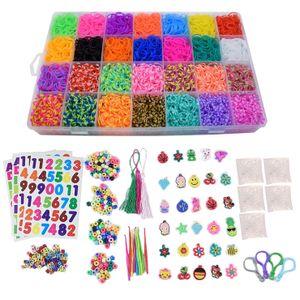 Loom-Bänder-Web-Set für Kinder zum Basteln,Gummi Loom Bänds DIY Webstuhl Bänder Band Box mit Armband Halskette Strickwerkzeug zum Kinderspielzeug