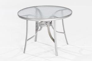 Merxx Gartentisch rund Balkontisch Gartenmöbel Tisch Garten Terrasse Glastisch 100 cm; 26322-219