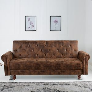 Chesterfield Sofa MAISON BELLE AFFAIRE 220cm antik braun mit Schlaffunktion Schlafsofa Schlafcouch