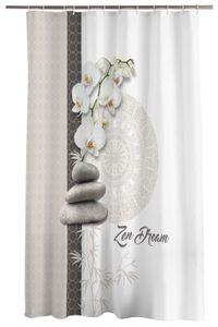 Duschvorhang 180x200cm Orchidee Zen weiß beige Wasserabweisend Badewannenvorhang