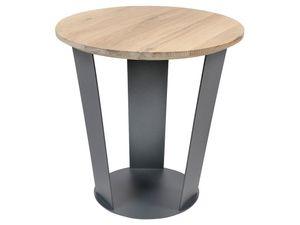 Torna Design Shine 40 - Beistelltisch - 38x37.5x38 cm - Anthrazit Stahl/Eiche Bianco