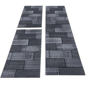 Bettumrandung kurzflor Teppich, Schlafzimmerteppich, Stein Optik Mauer,, Größe:2 x 80x150 cm + 1 x 80x300 cm