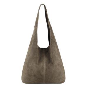 ITALY DAMEN LEDER TASCHE Handtasche Wildleder Shopper Schultertasche Hobo-Bag Henkeltasche Beuteltasche Velourleder Taupe