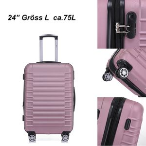 Reisekoffer Hartschalenkoffer ABS Hartschalenkoffer Trolley L Pink Reisekoffer Dehnungsfuge