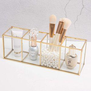 Make Up Organizer Beauty Schminkpinsel Aufbewahrung Gold, Transparenter Glas Make Up Pinsel Aufbewahrungskiste Luxus Kosmetik Aufbewahrungsbox Für Nagellack, Lippenstifte Und Kosmetikpinsel