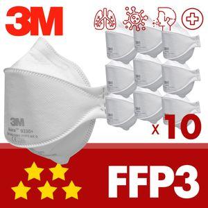 10x FFP3 ohne Ventil 3M Aura 9330+ Maske mit CE - Atemschutzmaske einzeln verpackt